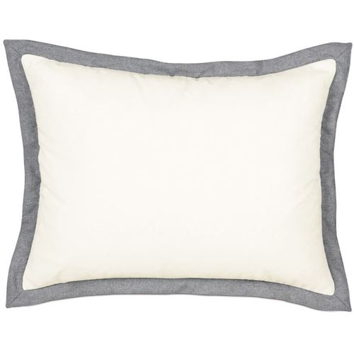 Picture of Myrtle Solid Ivory Bed Pillows (Charcoal Flange)